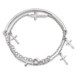 Italian Sterling Silver Polished Crosses with 2in ext. Wrap Bracelet - 13 inches