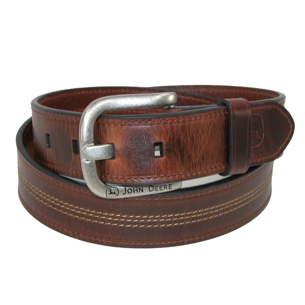 John Deere Men's Center Contrast Stitch 38mm Belt with Removable Buckle