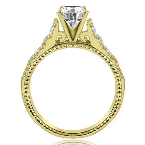 1.50 cttw. 14K Yellow Gold Vintage Cathedral Round Cut Diamond Engagement Ring