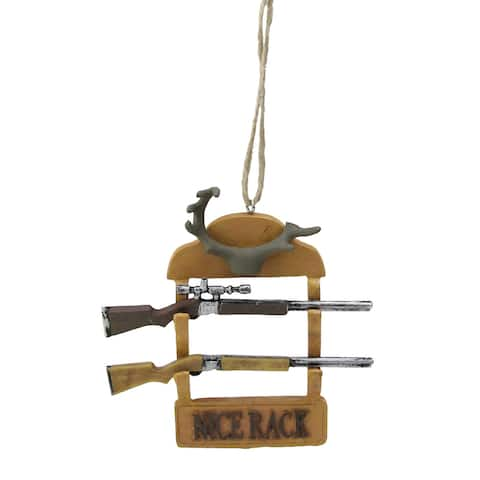 "4"" Nice Rack Hunting Rifles and Antlers Gun Rack Christmas Ornament"