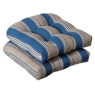 Pack of 2 Outdoor Patio Wicker Chair Seat Cushions - Blue and Tan Stripe