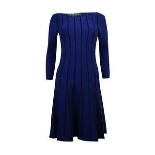 Lauren Ralph Lauren Women's Pleated Flare Sweater Dress - Navy/Black