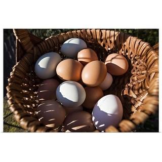 """Farm fresh eggs in a basket"" Poster Print"