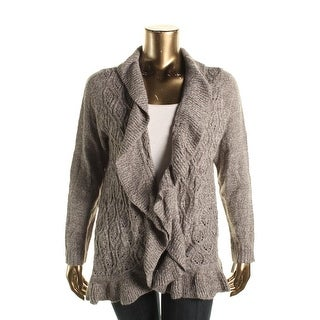 Karen Scott Womens Plus Cable Knit Marled Cardigan Sweater