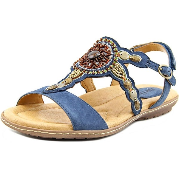 Earth Sunbeam Women Open-Toe Suede Blue Slingback Sandal