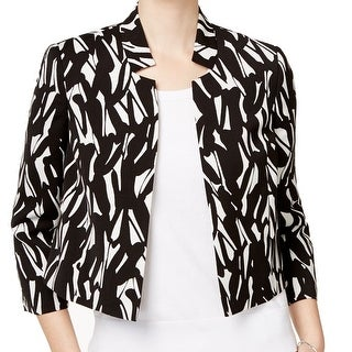 Kasper NEW Black Women's Size 16 Open Front Notch Collar Printed Jacket