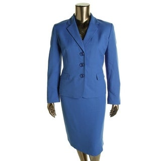 Evan Picone Womens Textured Three-Button Skirt Suit