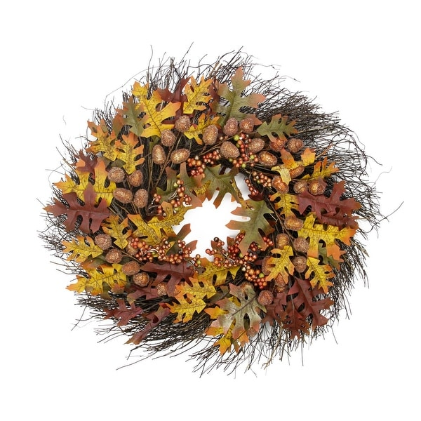 "25"" Glittered Acorn and Hawthorne Leaf Artificial Thanksgiving Wreath - Unlit"