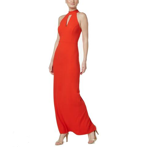 d167fd22878 Calvin Klein Red Womens Size 8 Keyhole Slit-Front Halter Gown Dress