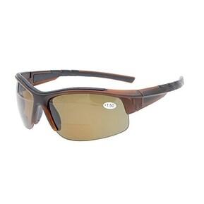Eyekepper TR90 Unbreakable Sports Bifocal Half Rimless Sunglasses Brown Frame Brown Lens +3.0