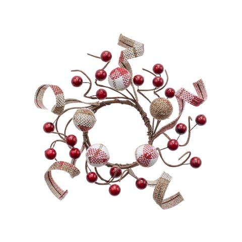 "2.5"" Small Cherry Pink Cranberry Check Candle Ring"