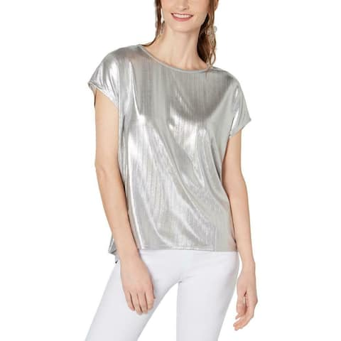 INC Womens Blouse Classic Shiny Silver Size XL Crew Neck Metallic