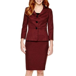 Le Suit NEW Red Wine Women's Size 18 Three-Button Skirt Suit Set