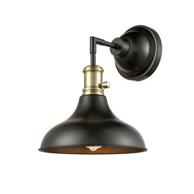 Restorations One Light Wall Sconce Black Antique Brass - Exact Size