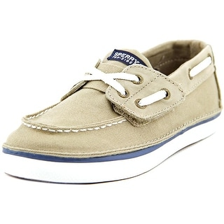 Sperry Top Sider Cruz Jr Youth Moc Toe Canvas Tan Boat Shoe