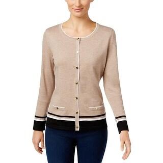 Karen Scott Womens Petites Cardigan Sweater Striped Knit