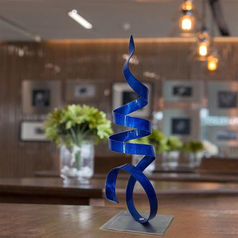 Statements2000 Abstract Metal Art Sculpture Centerpiece Accent Decor by Jon Allen - Blue Sea Breeze