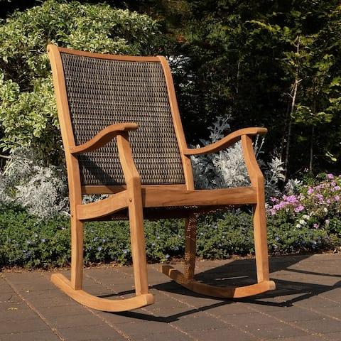 Cambridge Casual Dunham Solid Teak Wood Outdoor Wicker Rocking Chair