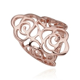 Rose Gold Plated Laser Cut Swirl Abstract Ring