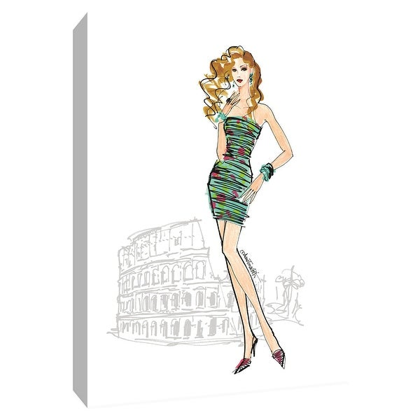 """PTM Images 9-154776 PTM Canvas Collection 10"""" x 8"""" - """"Colorful Fashion IV - Rome"""" Giclee Women Art Print on Canvas"""