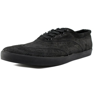 Generic Surplus Wing-Tip Men Wingtip Toe Suede Black Oxford