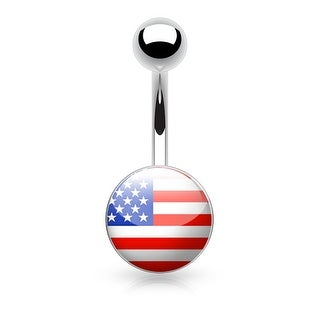 {U.S. Flag} Logo Inlaid and Clear Epoxy Covered Surgical Steel Navel Ring - 14GA (Sold Ind.)