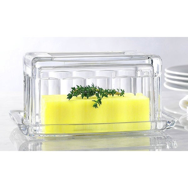 Palais Glassware Glass Beurre Collection Butter Dish Paneled Design.