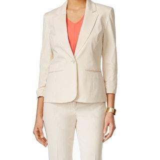 Nine West NEW Beige Women's Size 4 Single Button Striped Blazer