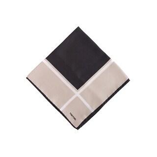Tom Ford Mens Brown Window Pane Silk Pocket Square