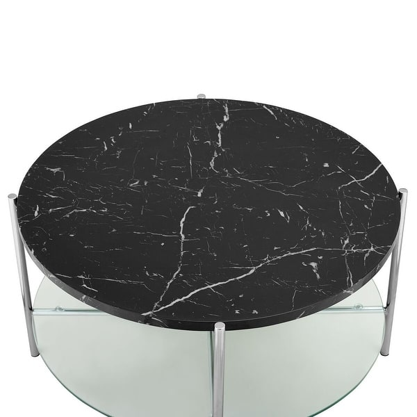Shop Offex 32 Round Coffee Table With Black Marble Top Glass