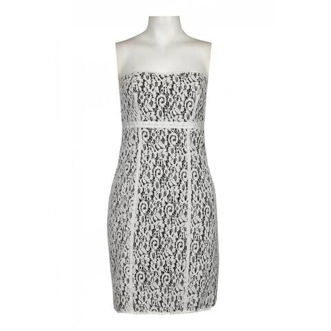 JS Collections Sweetheart Neckline Cotton Lace Dress, Black/White , 16
