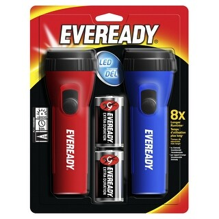 Eveready LED Economy Flashlight, Assorted Colors, Pack of 2