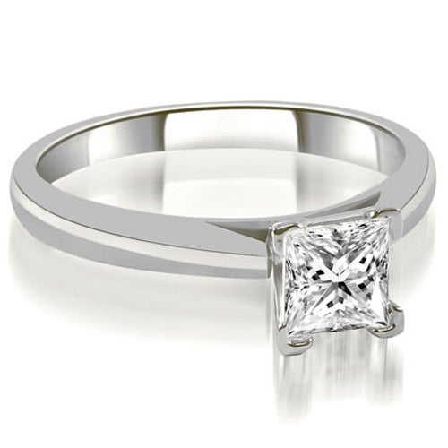 0.75 cttw. 14K White Gold Cathedral V-Prong Solitaire Diamond Engagement Ring