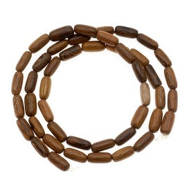 Oval Tube Wood Beads Brown 6-7mm x 4mm /16 Inch Strand