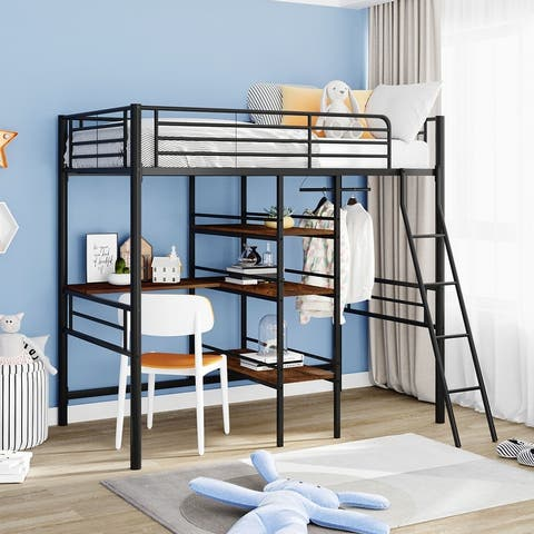 Merax Metal Twin Loft Bed with Desk and Shelves