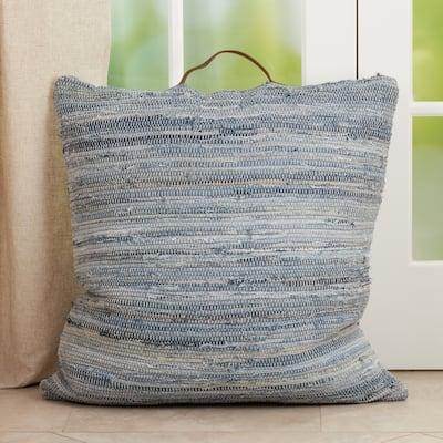 Chindi Floor Pillow With Distressed Denim Design