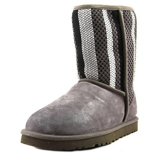 Ugg Australia Classic Short Woven Women  Round Toe Suede Gray Winter Boot