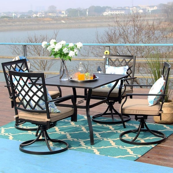 Viewmont 5-piece Outdoor Dining Set with Large Table and 4 Swivel Chairs by Havenside Home. Opens flyout.