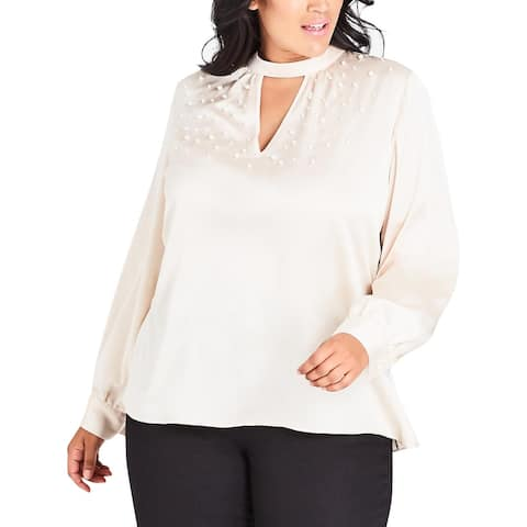 City Chic Womens Plus Pearl Love Blouse Embellished Long Sleeves
