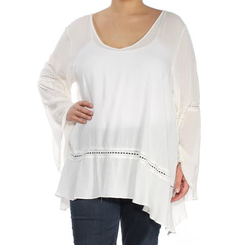 ING Womens Ivory Eyelet Bell Sleeve V Neck Trapeze Top Plus Size: 2X