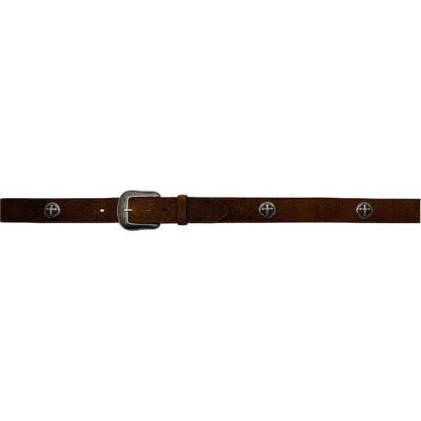 3D Belt Western Mens Cross Conchos Distressed Crackle Brown