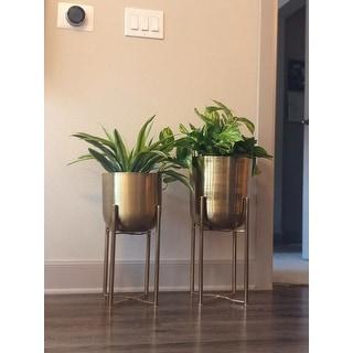 "Large, Round, Indoor/Outdoor Metallic Gold Metal Planters in Gold Stands Set of 2 - 11"" x 22"" & 10"" x 19"""