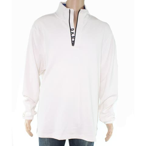 DKNY Mens Sweater Marshmallow White Ivory Size XL Quarter Zip Pullover
