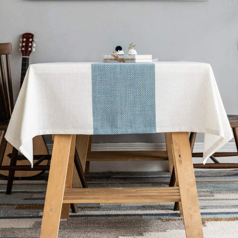 Linen Table Cover for Kitchen Dining Tabletop Decoration, Blue