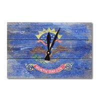 Rustic North Dakota State Flag - LP Artwork (Acrylic Wall Clock) - acrylic wall clock