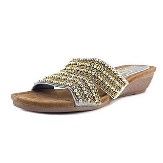 J. Renee Antonina W Open Toe Leather Wedge Sandal