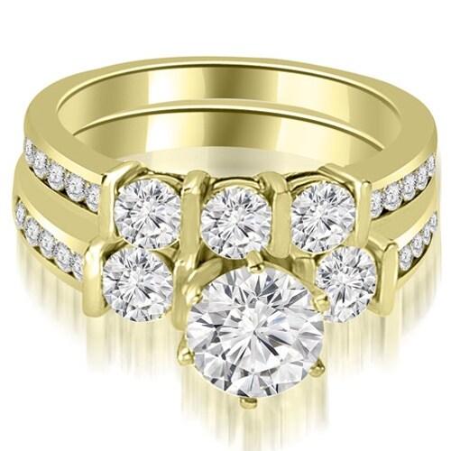 1.90 cttw. 14K Yellow Gold Bar Set Round Cut Diamond Engagement Set