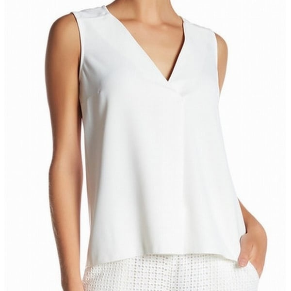 600e72272fe68 Shop French Connection NEW White Crepe Women s Size 12 V-Neck Tank Cami Top  - Free Shipping On Orders Over  45 - Overstock - 20231734