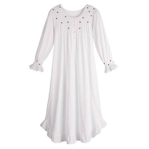 Women's Petite Rosebuds White Cotton Nightgown