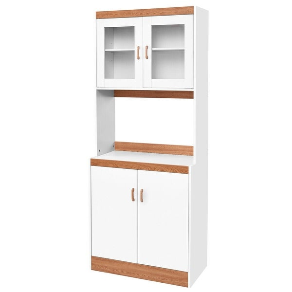 Gymax Tall Microwave Cart Stand Kitchen Storage Cabinet Shelves Pantry Cupboard White. Opens flyout.